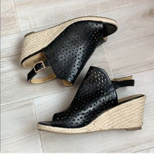 Diba Black Perforated Peep Toe Wedge Sandals